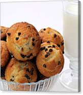 Mini Chocolate Chip Muffins And Milk - Bakery - Snack - Dairy - 2 Canvas Print