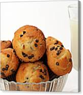 Mini Chocolate Chip Muffins And Milk - Bakery - Snack - Dairy - 3 Canvas Print