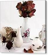 Mini Vase With Dried Roses Canvas Print