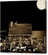 Miniature Log Cabin Scene With Old Time Classic 1908 Model T Ford In Sepia Color Canvas Print