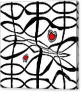 Minimalist Art Black White Red Abstract Art No.206. Canvas Print