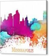 Minneapolis City Colored Skyline Canvas Print