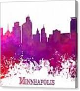 Minneapolis City Skyline Purple Canvas Print