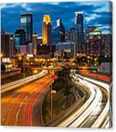 Minneapolis Light Trails Canvas Print