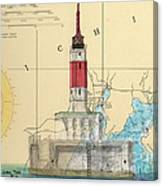 Minneapolis Shoals Lighthouse Mi Nautical Chart Map Art Canvas Print