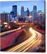 Minneapolis Skyline At Dusk Early Evening Canvas Print