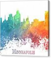 Minneapolis Skyline Colored Canvas Print