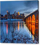 Minneapolis Skyline Images Stone Arch Bridge Spring Evening Canvas Print