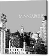 Minneapolis Skyline Mill City Museum - Silver Canvas Print