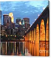 Minneapolis Skyline Photography Stone Arch Bridge Canvas Print
