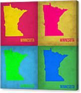 Minnesota Pop Art Map 1  Canvas Print