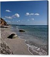 Binigaus Beach In South Coast Of Minorca With A Turquoise Crystalline Water - Paradise In Blue Canvas Print