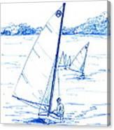 Mint Classic Moth In Blue  Canvas Print