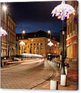 Miodowa Street In Warsaw At Night Canvas Print