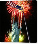 Miss Liberty And Fireworks Canvas Print