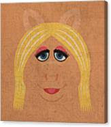 Miss Piggy Vintage Minimalistic Illustration On Worn Distressed Canvas Series No 011 Canvas Print