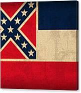 Mississippi State Flag Art On Worn Canvas Canvas Print