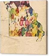 Missouri Map Vintage Watercolor Canvas Print