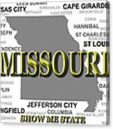 Missouri State Pride Map Silhouette  Canvas Print