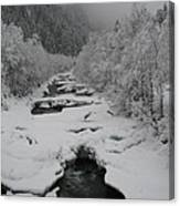 Mist Above The Creek Canvas Print