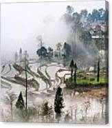 Mist And Village Canvas Print