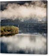 Mists And Bridge Over Klamath Canvas Print