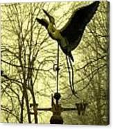 Misty Egret - Gold Canvas Print