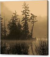 Misty Lake And Trees Silhouette Canvas Print