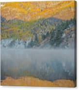Misty Lake With Aspen Trees Canvas Print