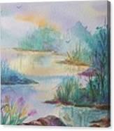 Misty Morn On A  Mountain Lake Canvas Print