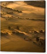 Misty Morning Farmland Canvas Print