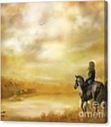 Misty Morning Horseback Ride Canvas Print