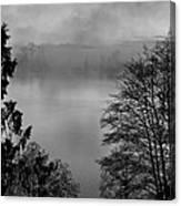 Misty Morning Sunrise Black And White Art Prints Canvas Print