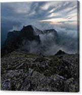 Misty Peaks And A Whiff Of Danger Canvas Print