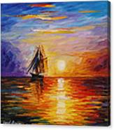 Misty Ship - Palette Knife Oil Painting On Canvas By Leonid Afremov Canvas Print