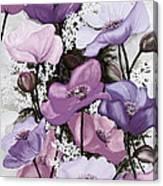 Mixed Poppies  Purple Canvas Print