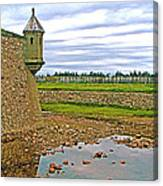 Moat And Wall Around Fortress In Louisbourg Living History Museum-ns Canvas Print