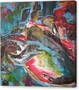 Mobie Joe The Whale-original Abstract Whale Painting Acrylic Blue Red Green Canvas Print