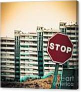 Mobile Photography Toned Stop Sign And Condo Units Canvas Print
