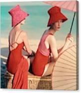 Models At A Beach Canvas Print
