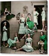 Models In Various Green Dresses Canvas Print