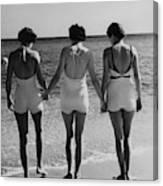 Models On A Beach Canvas Print