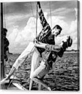 Models Wearing A Bennett Shirts On A Sailboat Canvas Print