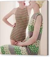 Models Wearing Swimwear And Dress Canvas Print