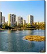 Modern Buildings Close To The Pond Canvas Print