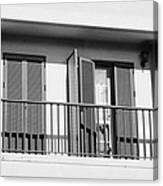 modern pvc sun shutter blinds on balcony doors and windows of house in tacoronte Tenerife Canary Islands Spain Canvas Print