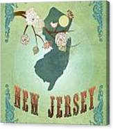 Modern Vintage New Jersey State Map  Canvas Print