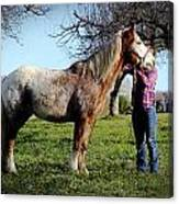 Molly And Her Horse  Canvas Print