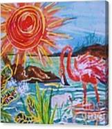 Momma And Baby Flamingo Chillin In A Blue Lagoon  Canvas Print