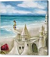 Mommy And Me Sandcastles Canvas Print